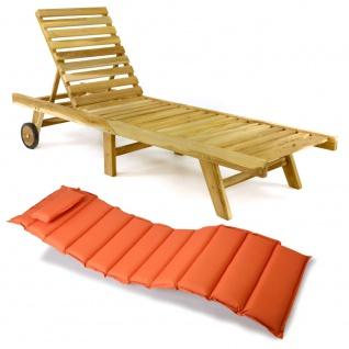 DIVERO Sonnenliege Gartenliege klappbar Teak-Holz natur Auflage orange