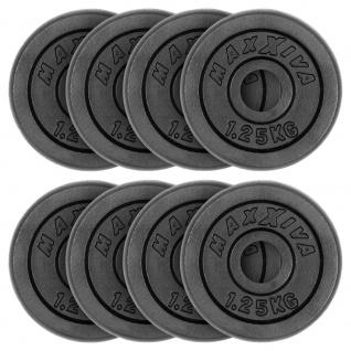 MAXXIVA Hantelscheiben 8er Set Gewichtsplatte je 1, 25 kg Gusseisen schwarz 10 kg