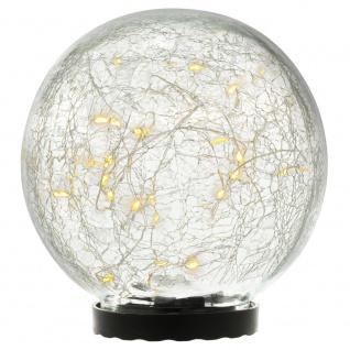 Solarleuchte mit Glaskugel 25 LED warm weiß Solarlampe 15 cm