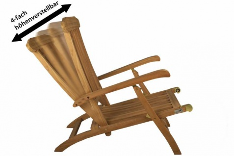 """DIVERO Liegestuhl Deckchair """" Florentine"""" Teak Holz behandelt Auflage creme - Vorschau 2"""