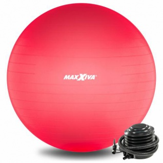 MAXXIVA Gymnastikball Ø 75 cm Rot mit Pumpe Sitzball Fitness Yoga Pilates