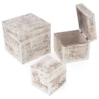 3-teiliges Holzboxen ? Set mit Deckel Vintage Look Albacia Wood weiß