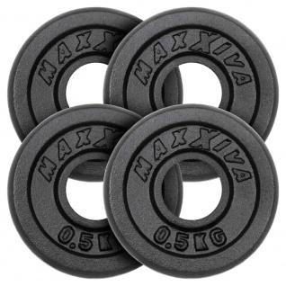 MAXXIVA Hantelscheiben 4er Set Gewichtsplatte je 0, 5 kg Gusseisen schwarz 2 kg