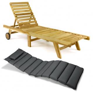 DIVERO Sonnenliege Gartenliege klappbar Teak-Holz natur Auflage anthrazit