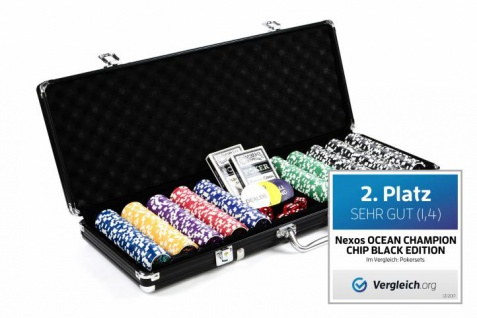 Pokerkoffer 500 OCEAN CHAMPION CHIP abgerundete Laser-Poker-Chips BLACK EDITION Pokerset