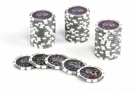 50 Poker-Chips Wert 1 Laserchip 12g Metallkern OCEAN-CHAMPION-CHIP abgerundet