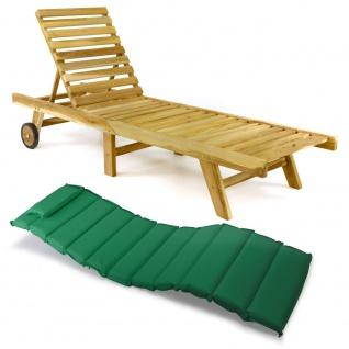 DIVERO Sonnenliege Gartenliege klappbar Teak-Holz natur Auflage grün