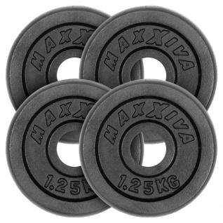 MAXXIVA Hantelscheiben 4er Set Gewichtsplatte je 1, 25 kg Gusseisen schwarz 5 kg