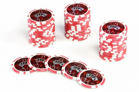50 Poker-Chips Wert 5 Laserchip 12g Metallkern OCEAN-CHAMPION-CHIP abgerundet