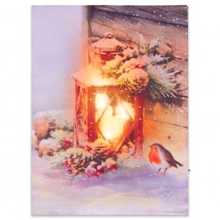 Wandbild mit LED Kunstdruck mit Beleuchtung rote Laterne 30x40 cm Timer