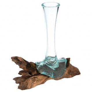 Handgemachte mundgeblasene Wurzelholz-Glasvase Blumenvase Wurzel 25cm