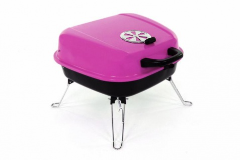 Koffergrill Holzkohlegrill BBQ Partygrill Minigrill pink Barbecue