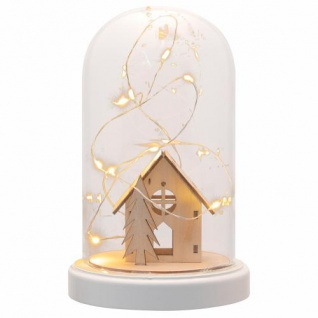 Deko-Glocke mit Lichterkette Holz-Hütte Kuppel 10 LED warm weiß Batterie Timer