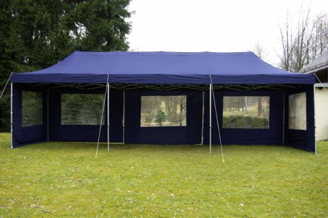 profi faltpavillon partyzelt 3x9 m blau mit seitenteilen. Black Bedroom Furniture Sets. Home Design Ideas