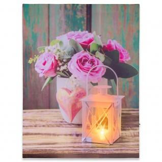 Wandbild mit LED Kunstdruck mit Beleuchtung Rose & Lampe 30x40 cm Batterie m. Timer