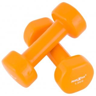 MAXXIVA 2 x 1, 5 kg Hantelset Stahl Vinyl Kurzhanteln Fausthanteln Orange Fitnesshantel
