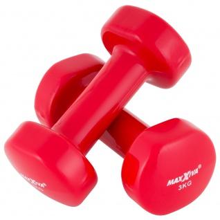 MAXXIVA 2 x 3 kg Hantelset Stahl Vinyl Kurzhanteln Fausthanteln Rot Fitnesshantel