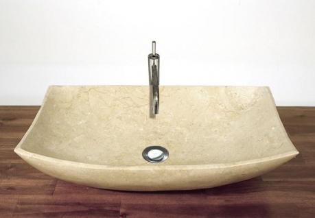 """DIVERO Aufsatz Waschbecken Waschschale """" Mailand"""" Marmor creme 60x40cm - Vorschau 4"""