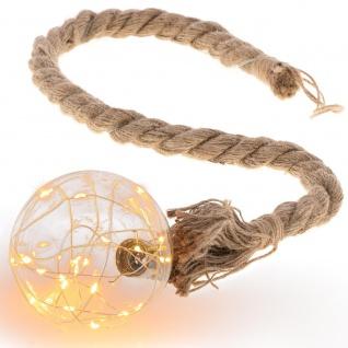 LED Dekoleuchte Kugel am Seil 20 LED warm weiß Batterie Timer Seil 75 cm Xmas