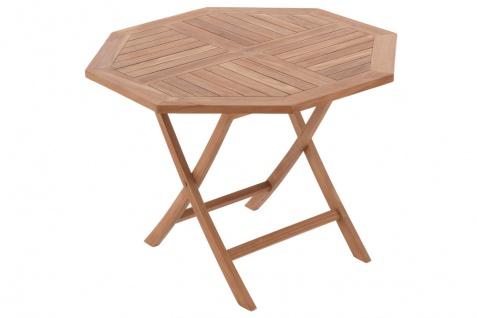 DIVERO Balkontisch Gartentisch Tisch Holz Teak klappbar behandelt Ø 100cm