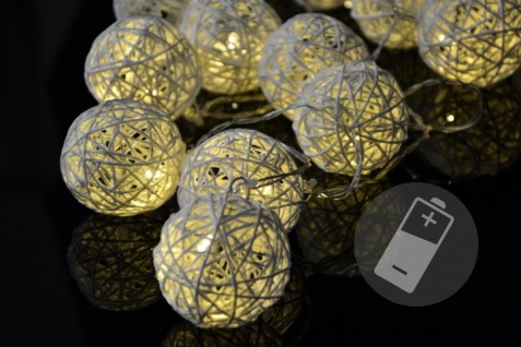20 LED Lichterkette Ball in Rattanoptik Rattan Lichterkette weiß Batterie