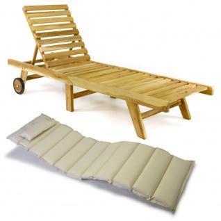 DIVERO Sonnenliege Gartenliege klappbar Teak-Holz natur Auflage creme