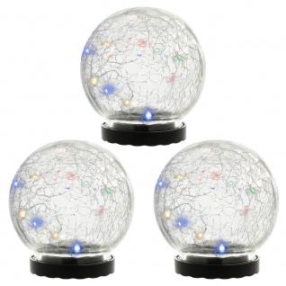 3er Set Solarleuchte mit Glaskugel 10 LED mehrfarbig Solarlampe 11 cm