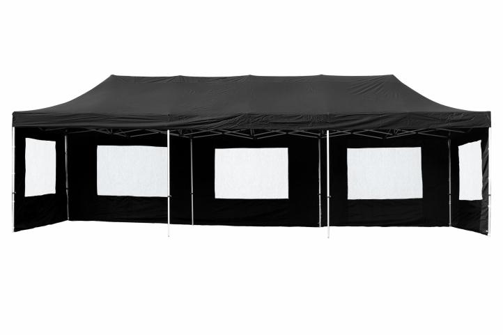 profi faltpavillon partyzelt 3x9 m schwarz mit. Black Bedroom Furniture Sets. Home Design Ideas