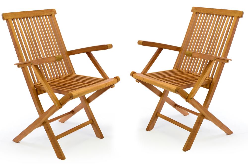 Gartenstuhl Holz Klappbar.Divero 2er Set Gartenstuhl Armlehne Stuhl Teak Holz Klappbar Massiv Behandelt