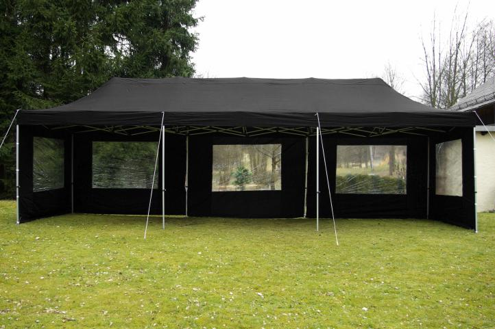 profi faltpavillon partyzelt 3x9 m schwarz mit seitenteilen dach wasserdicht 270 g m. Black Bedroom Furniture Sets. Home Design Ideas