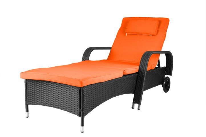 rattanliege auflage orange poly rattan gartenliege sonnenliege liegestuhl liege kaufen bei. Black Bedroom Furniture Sets. Home Design Ideas