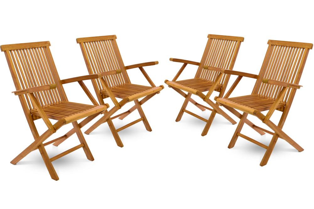 Gartenstuhl Holz Klappbar.Divero Gartenstuhl Massiv Mit Armlehne Klappbar 4er Set Teak Holz Behandelt
