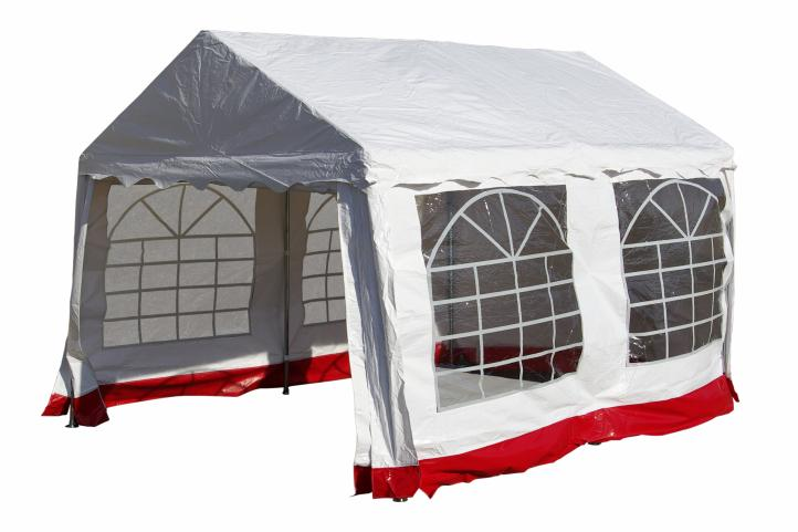 hochwertiges festzelt partyzelt pavillon 3x4 m wei rot. Black Bedroom Furniture Sets. Home Design Ideas