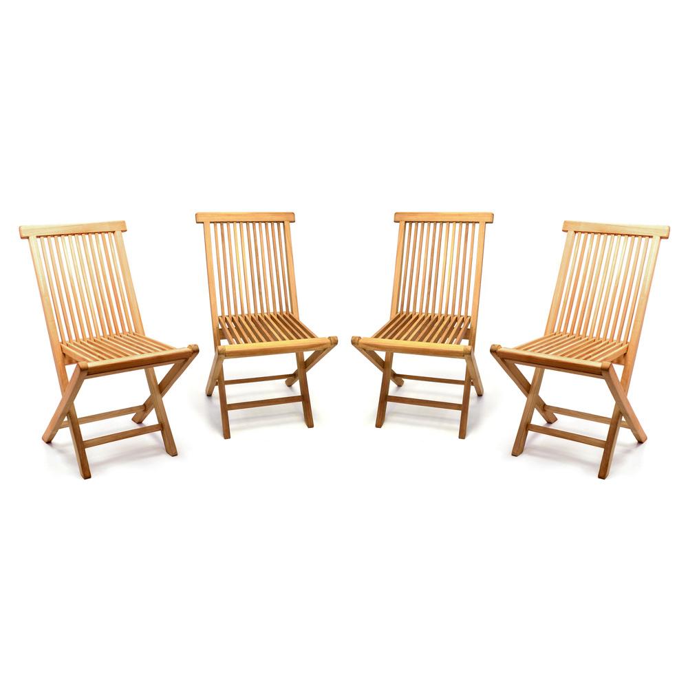 Teakholz gartenmöbel klappbar  DIVERO 4er Set Gartenstuhl Teak Holz behandelt klappbar massiv ...