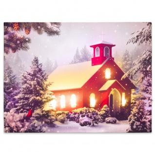 Wandbild mit LED Kunstdruck mit Beleuchtung rote Kapelle 30x40 cm Timer Batterie