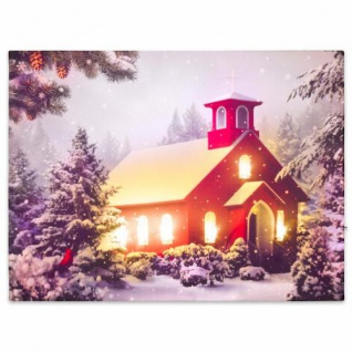 Wandbild mit LED Kunstdruck mit Beleuchtung rotes Haus 30x40 cm Timer