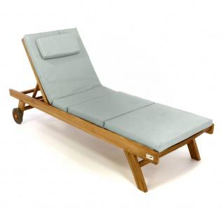 DIVERO Set Sonnenliege Gartenliege Räder Auflage grau Teak Holz behandelt
