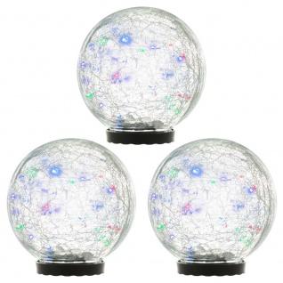 3er Set Solarleuchten mit Glaskugel 25 LED mehrfarbig Solarlampe 15 cm