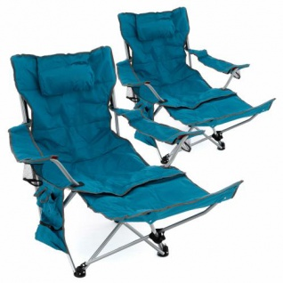 2er Set Campingliege Campingstuhl gepolstert abnehmbare Fußstütze blau