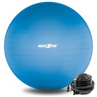 MAXXIVA Gymnastikball Ø 55 cm Blau mit Pumpe Sitzball Fitness Yoga Pilates