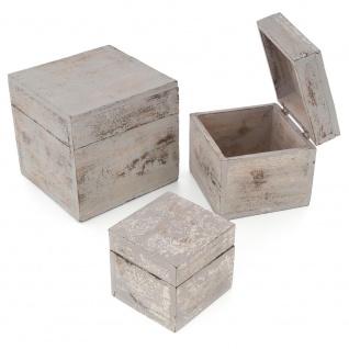 3-teiliges Holzboxen ? Set mit Deckel Vintage Look Albacia Wood hellgrau