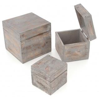 3-teiliges Holzboxen ? Set mit Deckel Vintage Look Albacia Wood dunkelgrau
