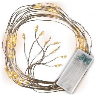 Lichterregen 48 LED warm weiß silberne Drähte mit je 6 LED Timer Lichterkette