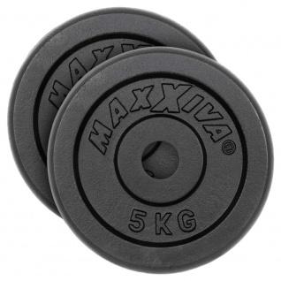 MAXXIVA Hantelscheiben 2er Set Gewichtsplatte je 5 kg Gusseisen schwarz 10 kg