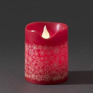 LED Echtwachskerze 10cm rot mit Schneeflocken 4h 8h Timer Konstsmide 1957-555