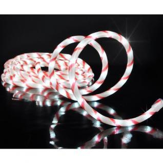 LED Lichtschlauch rot / weiß gedreht 6m 144er katweiß innen außen HI 76629