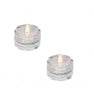 LED-Teelicht 2er Set warmweiß Wasserdicht Batterie außen innen 06782