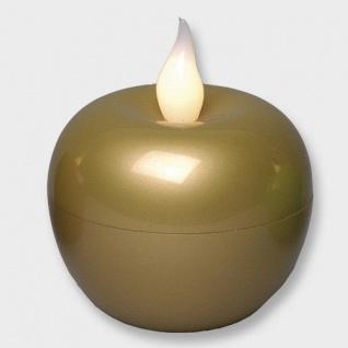 LED-Kerze Apfel gold 9x8cm warmes Licht Batteriebetrieb 066-40