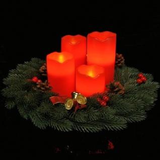 4er LED Echtwachs-Kerzen-Set rot Fernbedienung innen HI 55016 xmas