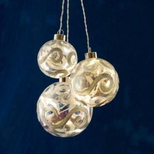 3er Set Beleuchtete Christbaumkugeln Silber 8/10/12cm 20 warmweiße LED 1247-303